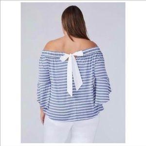 Lane Bryant off shoulder striped blouse
